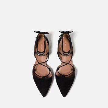 FLAT LACE - UP D'ORSAY SHOES-Extended sizes-SHOES-WOMAN | ZARA United Kingdom