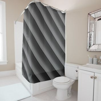 Grey, Black and Add 3rd Color Stripe Shower Curtain