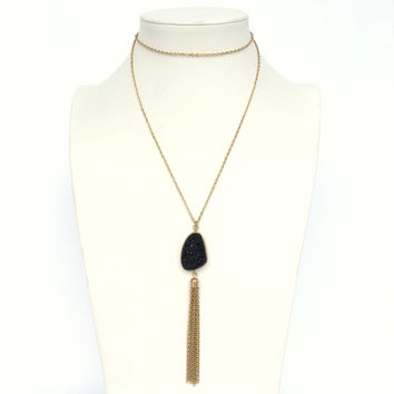 At First Sight Cluster Necklace In Black And Gold