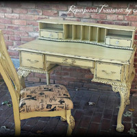 French country desk and chair,  yellow desk and chair,  distressed desk, rustic desk, desk, shabby chic desk,  chippy desk, painted desk