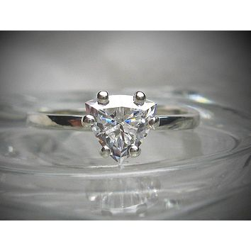 A Perfect 1.5CT Trillion Cut Solitaire Russian Lab Diamond Engagement Ring