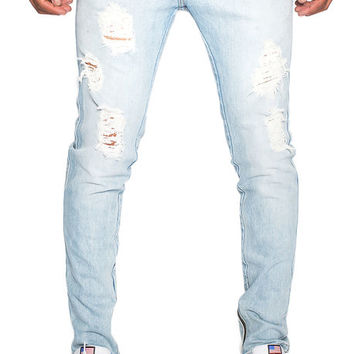 The Golden Thinn Zip Denim in Light Blue