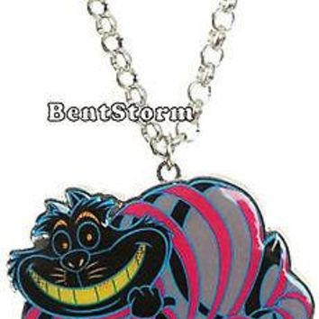 """Licensed cool Cheshire Cat DISNEY 21"""" Alice In Wonderland Pendant Necklace Loungefly Jewelry"""