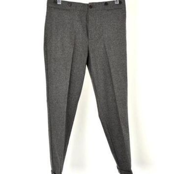 Ralph Lauren Rugby Gray Wool Cropped Cuffed Suspender Pants Size 6