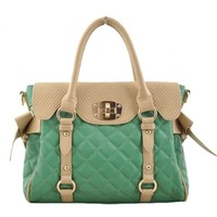 Sweet Chic Bowknot Mixing Color Diamond Check Emboss Handbag Tote Shoulder Bag