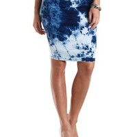 Acid Wash Denim Pencil Skirt by Charlotte Russe - Dark Acid Denim