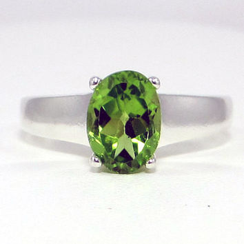 Peridot Ring Sterling Silver, August Birthstone Ring, Large Oval Peridot Ring, 925 Peridot Ring, 925 Sterling Silver Ring, 925 Ring