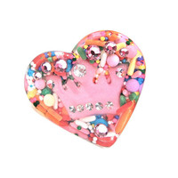 Colorful candy crown sprinkles heart ring - pink crown ring - candy heart ring - candy resin ring - kawaii ring by Sparkle City Jewelry