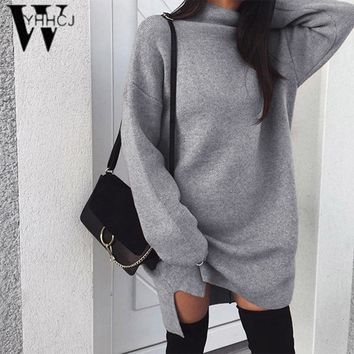 WYHHCJ Autumn Winter Women Dress Solid Color Long Sleeve Turtleneck Front Split Ladies Girl Casual Knitted Pullover dress Casaco