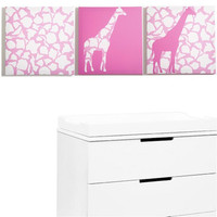 Rose Giraffe Walk Canvas Print Set of 3