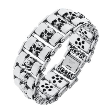 Skull stainless steel chain bracelet biker heavy punk jewelry gifts for men dad him boyfriend dropshipping Adjustable B026