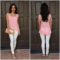 Sweet Tooth Lace Tank - Pink