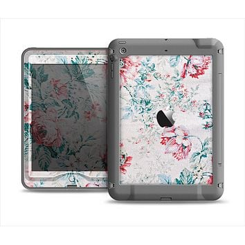 The Coral & Blue Grunge Watercolor Floral Apple iPad Mini LifeProof Nuud Case Skin Set