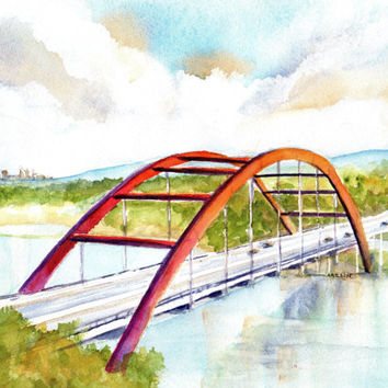 ORIGINAL Watercolor Landscape Painting, Austin 360 Bridge, 8x10 inch, Texas Pennybacker Suspension Bridge, Lake Austin
