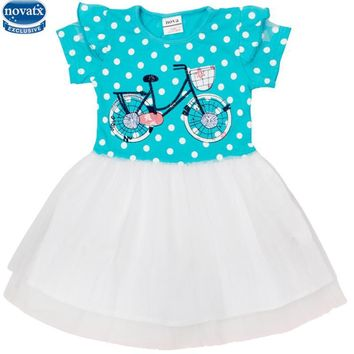 novatx H4766 fashion design 2-6y girls dress 100%cotton cute bicycle embroidered polka dot veil baby girls dress retail hot