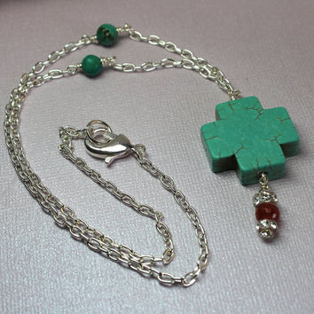 Chunky Turquoise Cross Genuine Turquoise Agate Necklace Celtic Gemstone Necklace