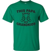 Fathers Day Gift Birthday Christmas Tshirt Mens T shirt T-shirt Papa Grandpa Daddy Nana shirts This Papa Loves His Grandkids