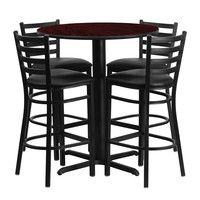 "Flash Furniture 30"""" Round Mahogany Laminate Home Kitchen With 4 Ladder Back Metal Restaurant Bar Stool Set Black Vinyl Seat"