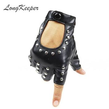 LongKeeper Women Rivets PU Leather Gloves Semi-Finger Mens Rivet Belt PU Gloves Sexy Cutout Fingerless Gloves G221