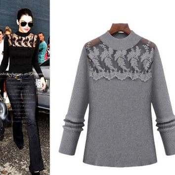 2016 Autumn Women Slim Knitted Sweaters Fashion Long-sleeved Stitching Mesh Hollow Lace Crochet Sexy Plus Size Pullover XXXXXL