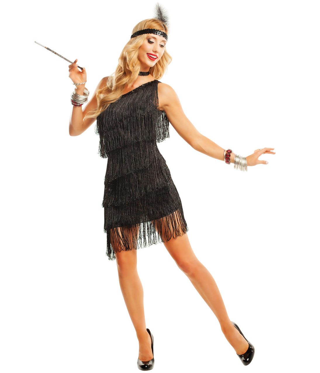 Dazzling black flapper costume from unique vintage gatsby glam