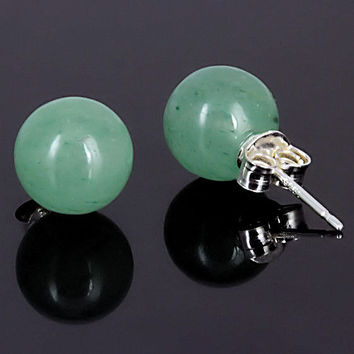 10mm Natural Green Jade Aventurine Ball Stud Post by 1000jewels