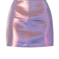 Purple Metallic Mini Skirt