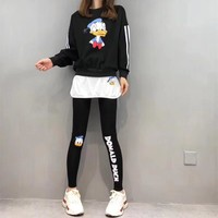 """Disney"" Women Fashion Letter Cartoon Donald Duck Print Vest Long Sleeve Trousers Set Three-Piece Sportswear"