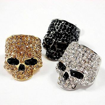 JEWELRY RING Skull Rings For Men Rock Punk Unisex Crystal Black/Gold Color Biker Ring Male Fashion Skull Jewelry