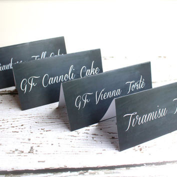 Chalkboard Print Table Tent Cards - Food Labels, Dessert Bar, Drink Bar, Baby Shower Decor - Wedding Decor