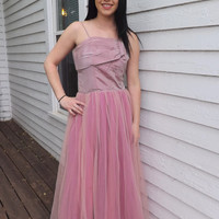 40s Pink Formal Gown Iridescent 1940s Party Prom Dress Vintage XS S