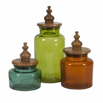 IMAX Saburo Glass and Wood Lid Canisters (Set of 3)