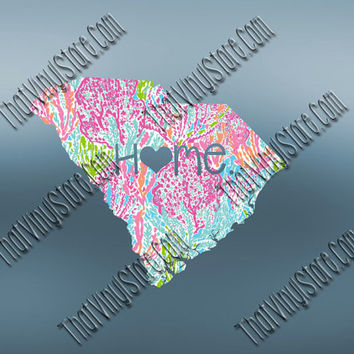 South Carolina Heart Home Decal | I Love South Carolina Decal | Homestate Decals | Love Sticker | Preppy State Sticker | Preppy State | 080