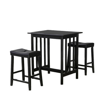 Black Finish 3 Piece Counter Table & Stools Dining Set