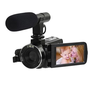 """24million PX Video Camera Digital 8X Zoom With WiFi Microphone 1080P HD 3"""" Screen DIS Antishake For SONY CMOS Home Camcorder"""