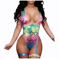 Fashion Summer New Multicolor Snake Texture Wading Sports Swimsuit Straps One Piece Bikini