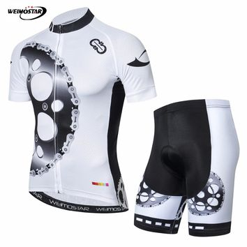 2018 Bike Jersey Set Mens Cycling jersey Padded shorts Suit Racing Shirt Ropa Ciclismo Short Sleeve mtb Bicycle Top Gear white