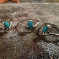 Authentic Navajo Native American Southwestern sterling silver sleeping beauty turquoise chevron ring.Made to order.Can be pinky/knuckle ring