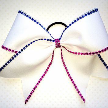 The Emily - White with Blue and Pink Rhinestones Cheer Bow