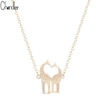 Gold Silver Plated Double Loving Giraffe Necklaces For Women Lovers Romantic Colar Feminino Fashion Jewelry Vanlentine Day Gifts