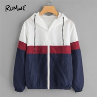 ROMWE Spring Autumn Fashion Hooded Drawstring  Jacket Zipper Pockets Casual Long Sleeves Color Block Coats Outwears