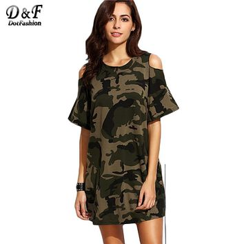 Dotfashion Loose Fashions Short Casual Dresses Streetwear Women Short Dress Olive Green Open Shoulder Camo Dress