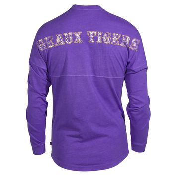 Official NCAA Louisiana State University Tigers LSU GEAUX Tiger Mike Women's Long Sleeve Spirit Wear Jersey T-Shirt