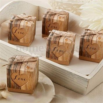 100pcs Wedding Favour Favor Sweet Cake Gift Candy Boxes Bags Anniversary Party