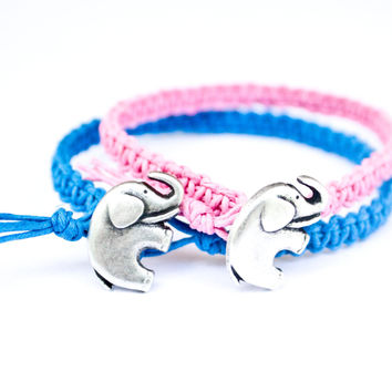 Elephant Bracelets Blue and Pink