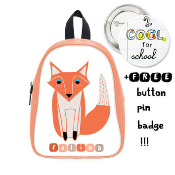 Fox Schoolbag Custom Made + FREE Button Pin Badge - Personalized Fox backpack - Daysack for school kids - customized with your kid's name