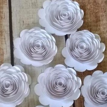 "Big White paper flowers, set of 6 Large roses, 3"" loose garden flower table decoration, Bridal shower decor, Wedding centerpiece"