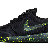 Nike Roshe One - Triple Black + Green Paint Color Splatter
