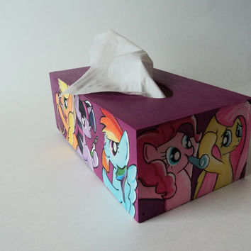 MLP Handpainted Wooden Red-violet Tissue Box Cover Acrylics