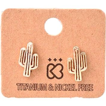 Must Have Earring-Cactus , Rose  Gold